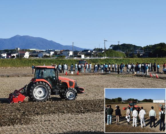 自動運転農機アグリロボトラクタMR1000Aによる耕起作業や 自動操舵システムによる播種作業を実演